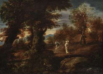 Forest landscape with figure staffage