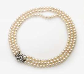 Three-row cultured pearl necklace with diamond clasp Germany, 1960s