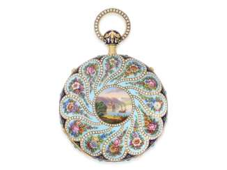 Pocket watch: important, exceptionally big Gold/enamel pocket watch with Orient pearl trim and percussion, attributed to Piguet Meylan/Frères Oltramare, No. 4404, CA. 1820