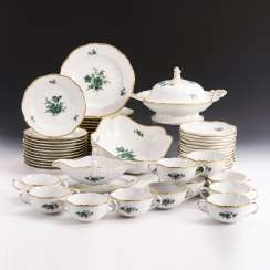 Dinner service with copper-green flower painting