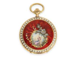 Pocket watch: magnificent and very rare Art Nouveau ladies' watch with gold / enamel case, pearls and diamonds, Longines No. 789277, approx. 1900