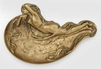 Art Nouveau business card holder with nude girl