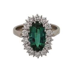 Ring with fine tourmaline, oval fac. approx. 12x6,5 mm,