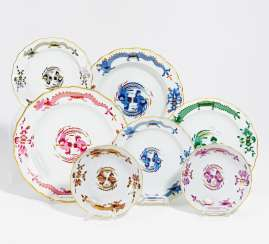 7 pieces of crockery with different designs