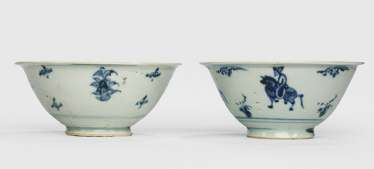 Two underglaze blue decorated bowls, one with equestrian decor