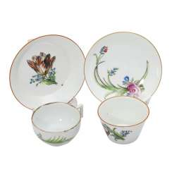 MEISSEN, 2 cups with saucer, Marcolini-time.