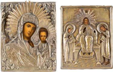TWO SMALL ICONS WITH OKLAD: THE MOTHER OF GOD OF KAZAN AND THE DEESIS
