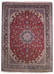 Signed Isfahan Medallion Carpet Central Persia