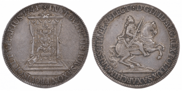 SAXONY, 1/2 THALER 1741 FRIEDRICH AUGUST II.