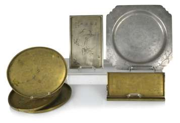 Group of seven trays made of metal, such as Tin, brass or Paktong, an engraved