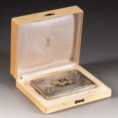CIGARETTE CASE WITH DOUBLE EAGLE IN A CASE around 1900 and later silver