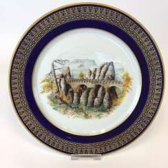 Special views of plate: Meissen porcelain, gold rim, Form T-smooth, view