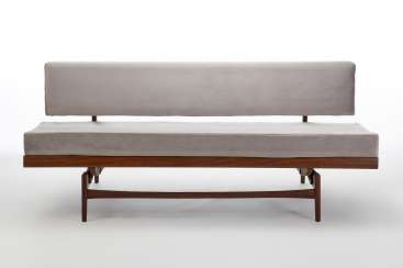 Sofa-bed with solid teak wood structure