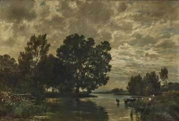 Riverside landscape with cattle