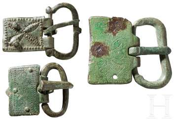 Three belt buckles with punzverzierten plates, late Roman-early Byzantine, 5. Century before Christ