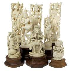 Group of eight ivory figures with representations of deities such as Shiva, Krishna and others