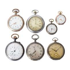 Group of Five gentlemen and two ladies pocket watches,