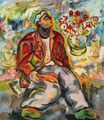 Chia, Sandro - a seated man with a flower