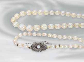 Chain/necklace very rare, antique necklace, necklace with precious Orient pearl, and 18K gold clasp, handmade