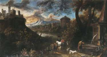 Classical landscape with shepherds