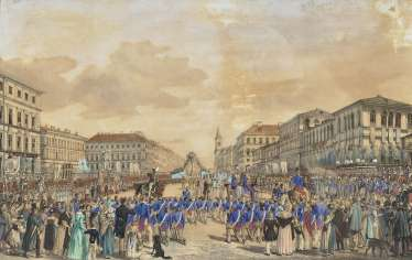 Solemn corpus Christi procession in the Ludwig street, Munich, the 6. June 1839 , Kraus, Gustav 1804 Passau - 1852 Munich