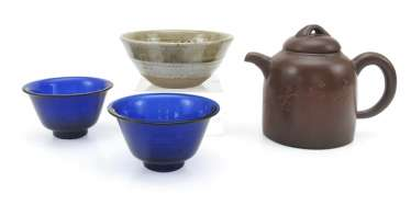 Pair of blue glass bowls, a Yixing teapot and a ceramic bowl