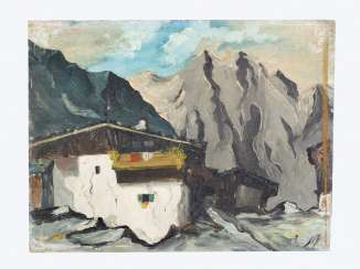 School of Tyrol, alpine landscape, oil on board, framed monogram