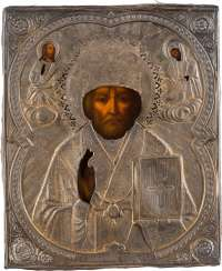 ICON WITH SAINT NICHOLAS OF MYRA WITH SILVER OKLAD Russia