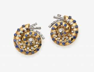 A Pair of ear clips with sapphires and diamonds