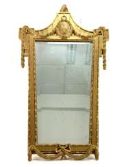 Opulent art Nouveau style-mirror: Piloted glass, wood, gilded, decorated, very good.