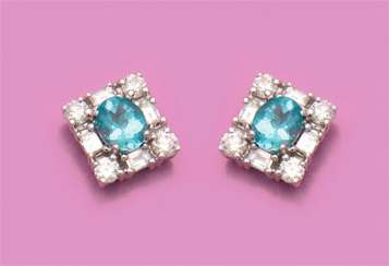 Pair of elegant apatite diamond earrings