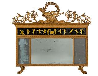 A NORTH ITALIAN GILTWOOD AND VERRE EGLOMISE TRIPLE-PLATE OVERMANTEL MIRROR