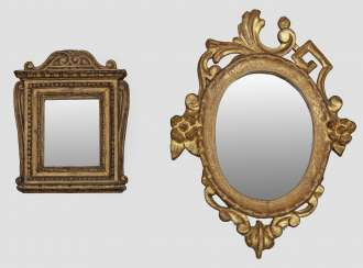 Two decorative wall mirrors in the baroque style