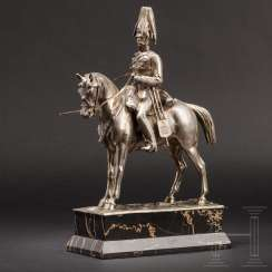 Silver statuette of a high cavalry officer, a German, 19. Century