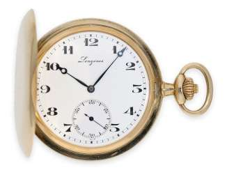 Pocket watch: high quality gold savonnette from Longines, anchor chronometer caliber 19.80, around 1915