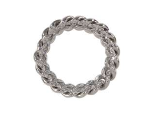 Chain diamond ring 750 WG.