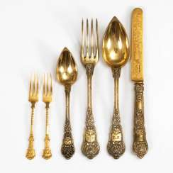 6 gold-plated pieces of Cutlery