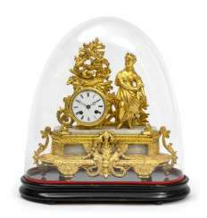 Mantel clock under glass shade