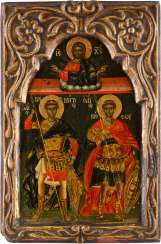 ICON WITH THE WAR OF THE SAINTS DEMETRIUS AND NESTOR