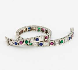 Color stone and diamond bracelet