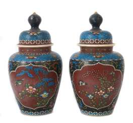 Lidded vase pair, with Cloisonné-decor Japan