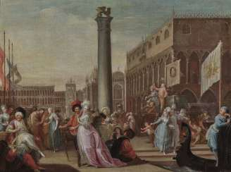 Jean-Baptiste Le Prince (Leprince), attributed to Venice - Comedians in the Piazzetta