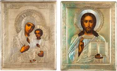TWO ICONS WITH VERMEIL-OKLAD: THE MOTHER OF GOD IWERSKAJA AND CHRIST PANTOCRATOR