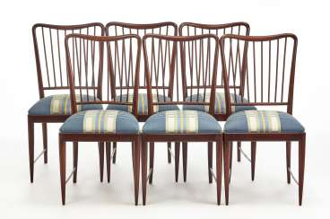 Six chairs in mahogany and solid walnut with upholstered seat covered in white
