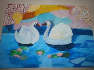 Inexpensive painting. Interior. Scenery. Nature. Swans in the lake.