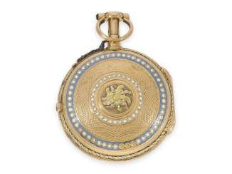 Pocket watch: very fine enamel Spindeluhr with Repetition a toc et a tact and rare blocking device, Berthoud a Paris CA. 1760