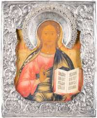 A SMALL ICON WITH CHRIST PANTOKRATOR WITH SILVER BASMA