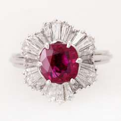 Ring with a ruby approximately 2.7 ct finest quality,