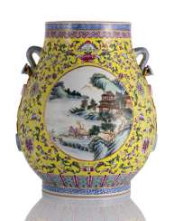 'Hu'shaped Vase with Famille rose decoration on a yellow ground, and two 'Ruyi'-Hand