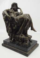 Bronze sculpture of a seated lady after Carpeaus.